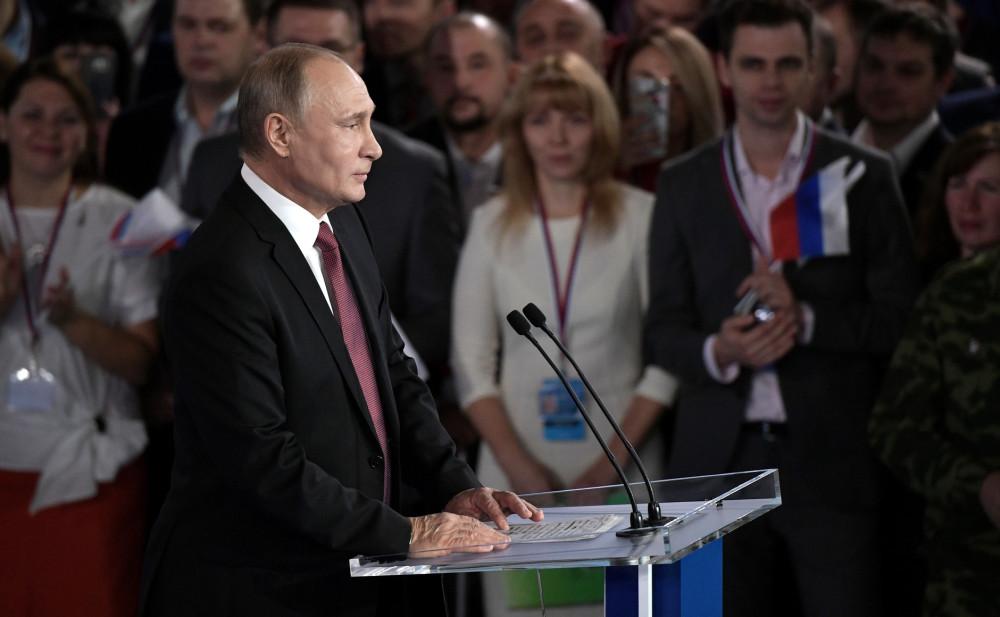 Первая предвыборная речь Путина