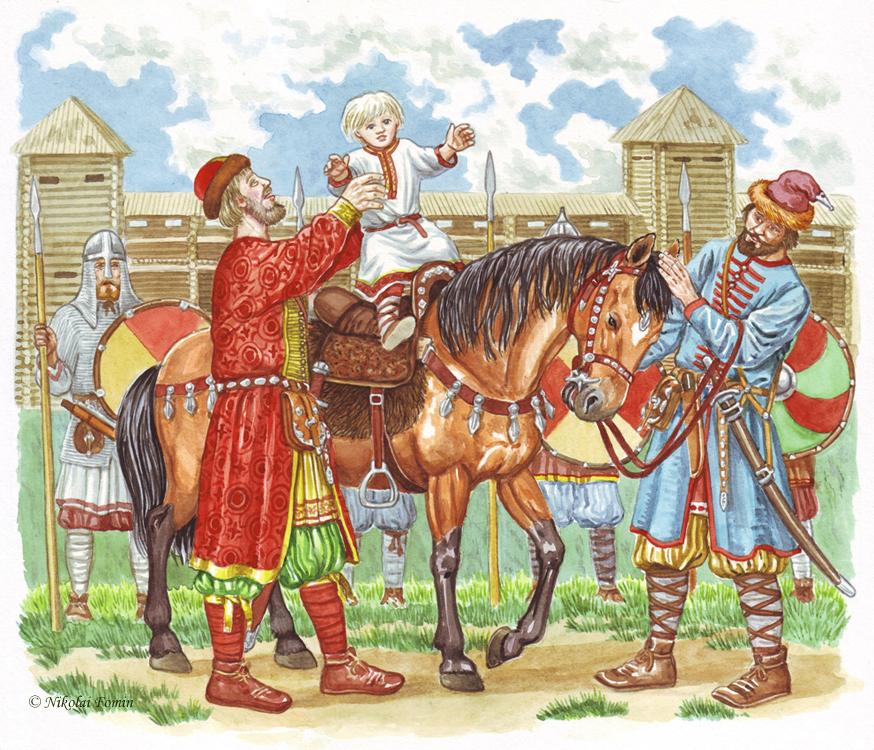 Обряд посажения княжича на коня совершался в 8 лет. В 14 лет княжич обязан был зачинать битву.