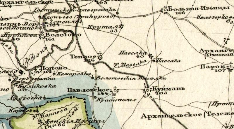 Донские Избицы на карте 1821 года