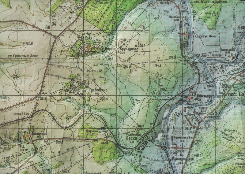 Красный холм на современной карте