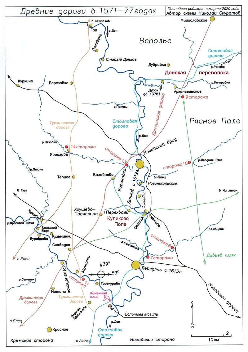 Древние дороги Верхнего Подонья — карта-схема
