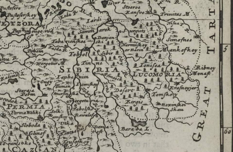 Древняя карта Сибири Лукоморья