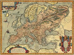 Ортелиус 1595 карта античной европы