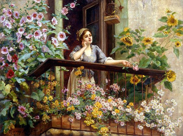 Девушка и цветы 1