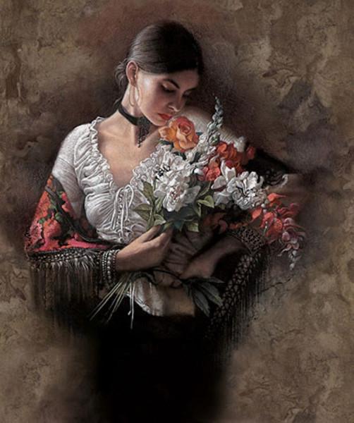 Девушка и цветы 5