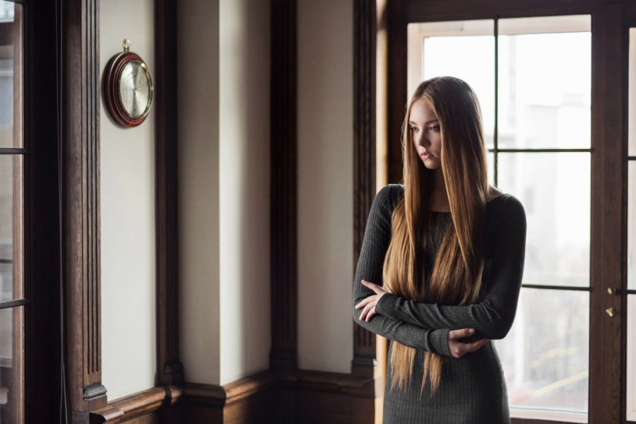 Women Window Looking Away Long Hair Brunette X Hamster 1