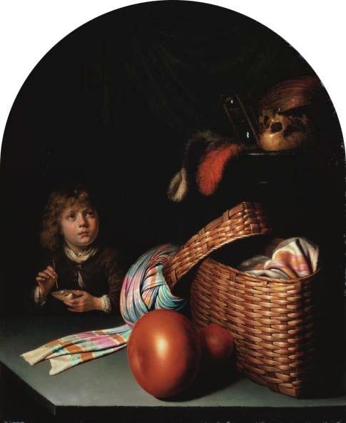 Герард Доу. Натюрморт с мальчиком, выдувающим мыльные пузыри.  1635-36