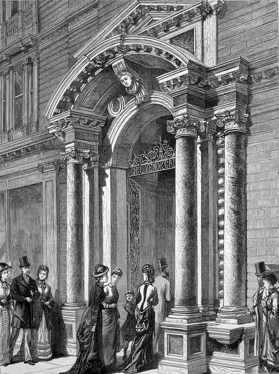 Вход в Галерею Гросвенор на Бонд-стрит. Гравюра 1877 г.