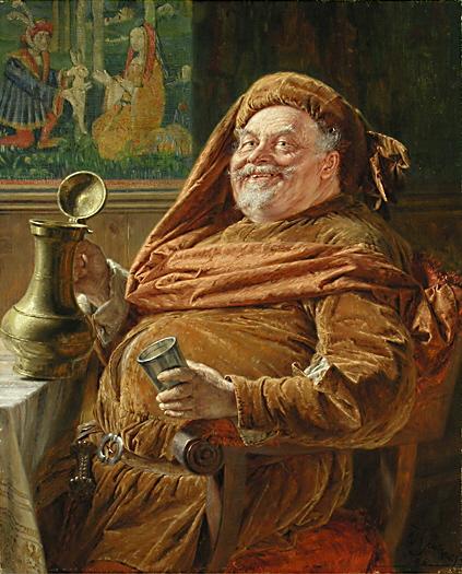 Эдуард фон Грютцнер. Фальстаф с большим винным кувшином и чашкой. 1896