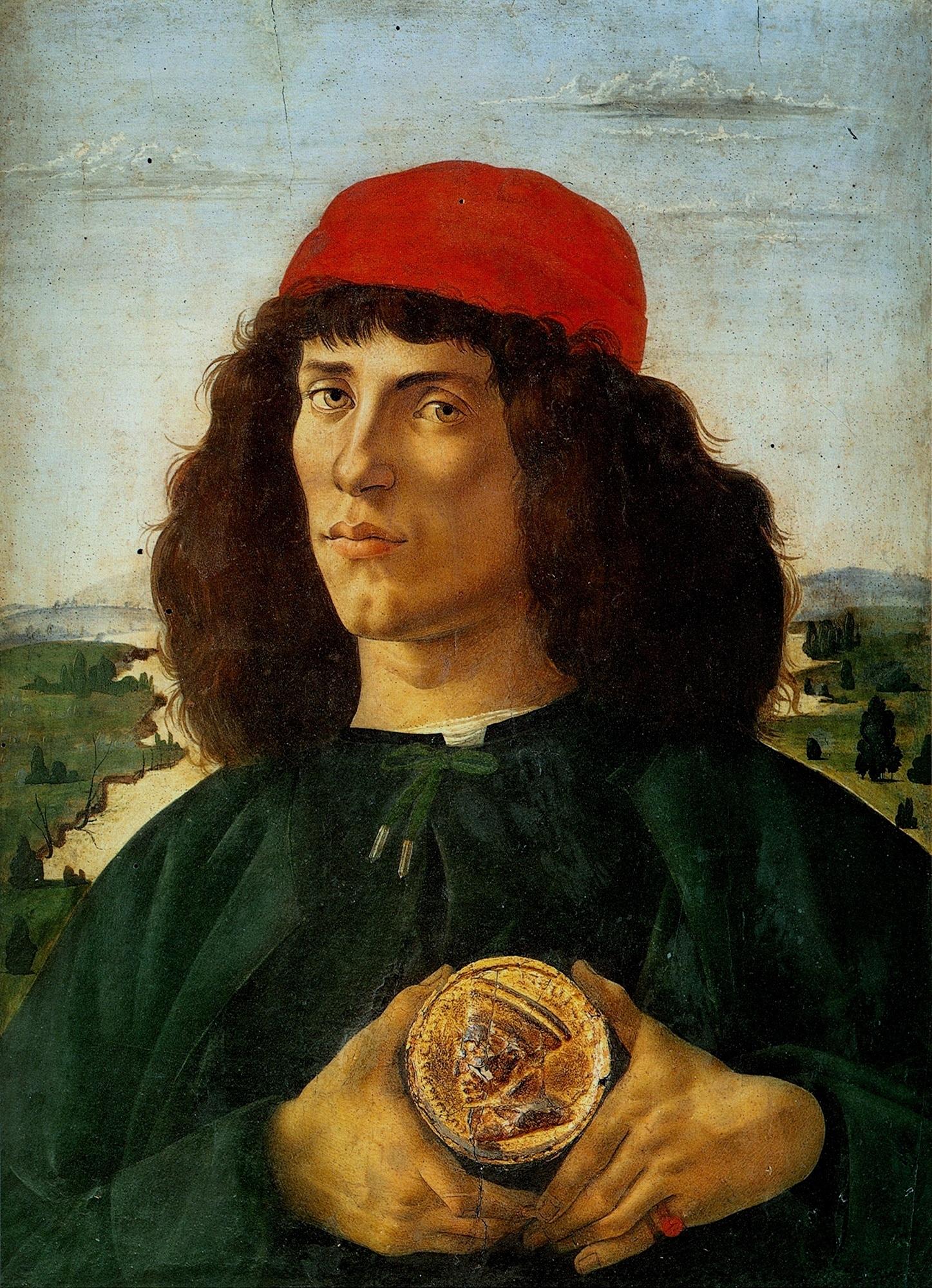 Сандро Боттичелли. Портрет неизвестного мужчины с медалью Козимо Старшего. Ок.1474-75