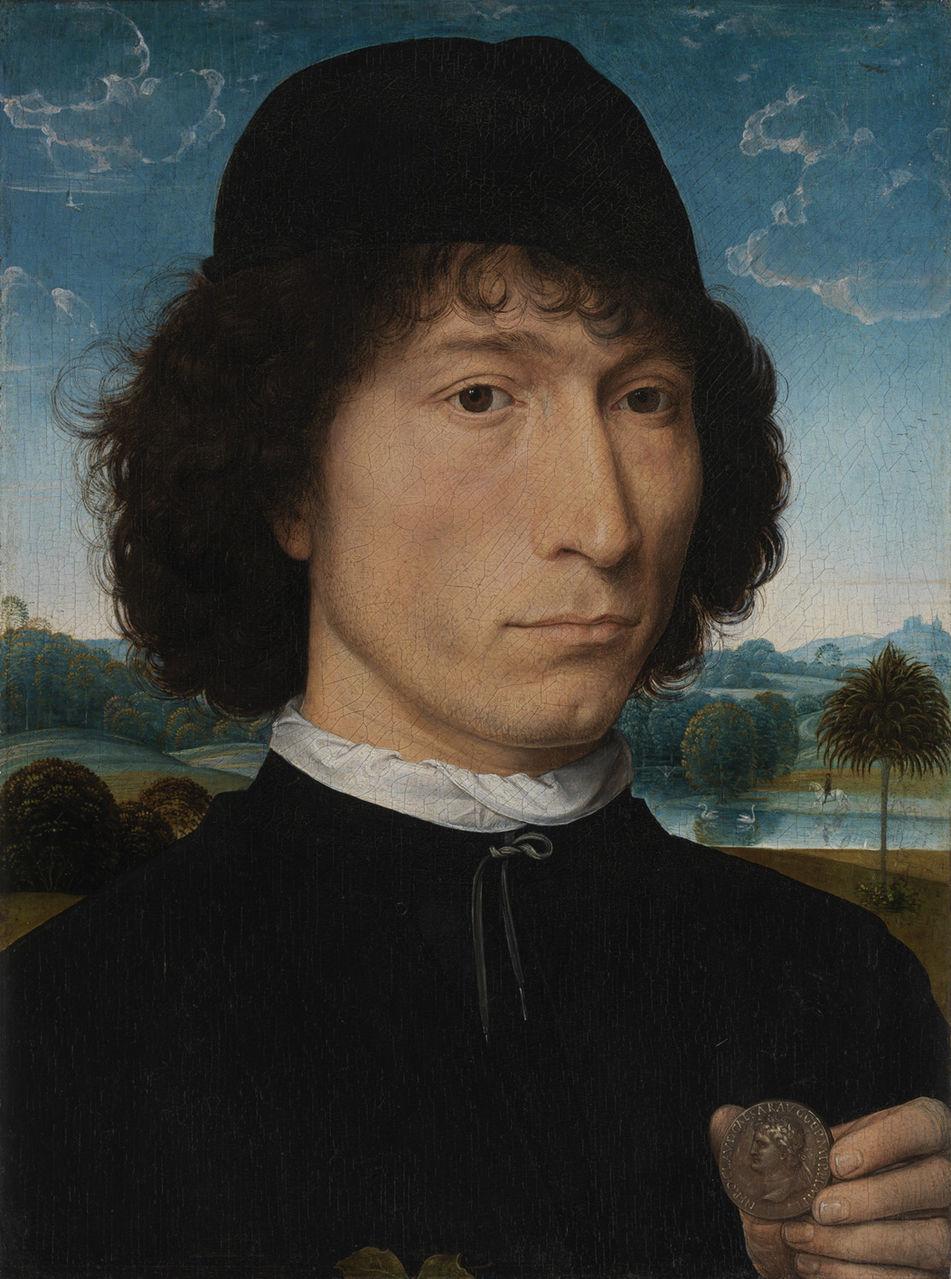Ханс Мемлинг. Портрет неизвестного мужчины с римской монетой. До 1480 г.