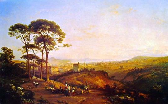Теодоро Дюклер. Неаполь с Коноккьи (вид на холмы Аминей и Аренелла). Сер.19 в.
