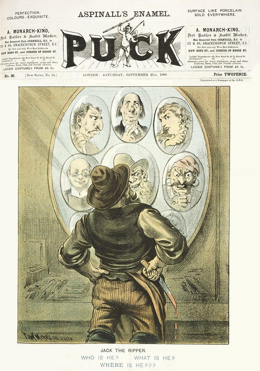 """Том Мерри. Обложка журнала """"Puck"""" от 21 сентября 1889 года, на которой изображен неопознанный убийца из Уайтчепела (Джек Потрошитель)"""