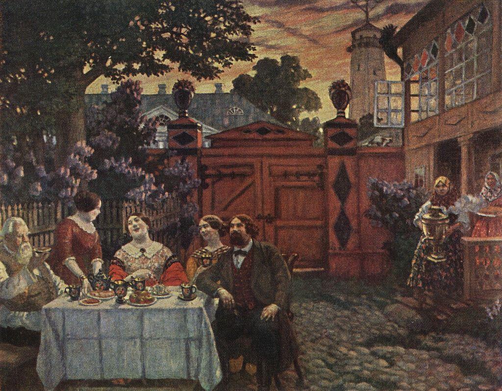 Борис Кустодиев. Чаепитие. 1913