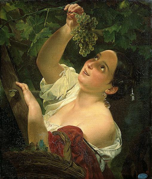 Карл Брюллов. Итальянский полдень (Итальянка, собирающая виноград). 1827