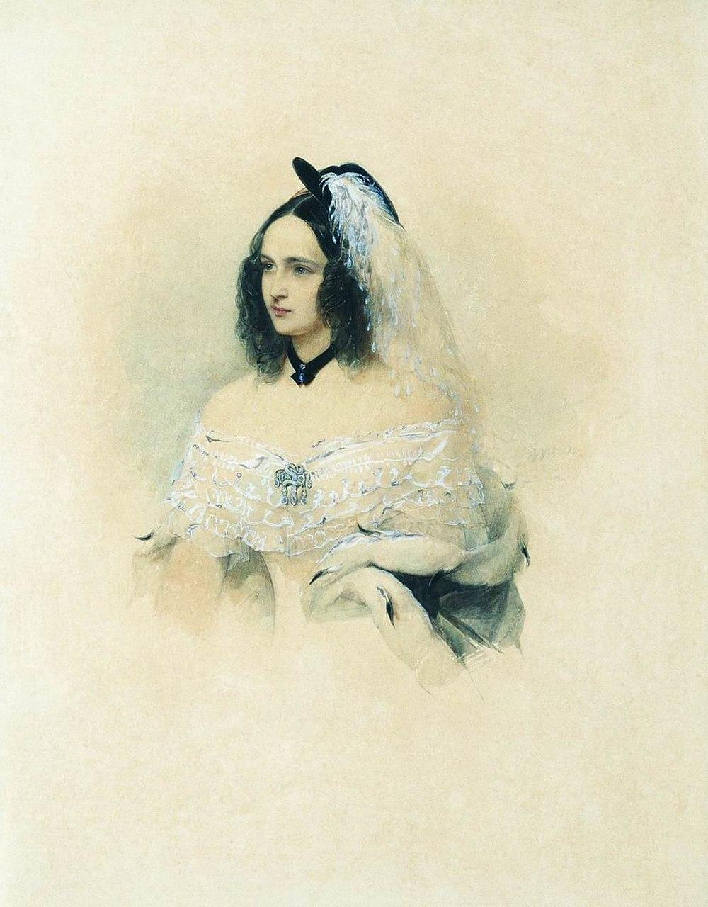 Владимир Гау. Портрет Натальи Пушкиной-Ланской. 1843