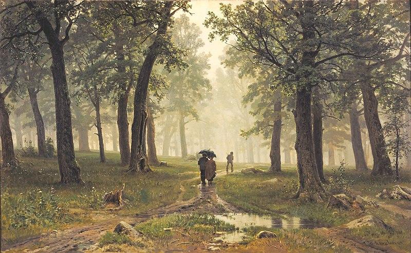 Шишкин. Дождь в дубовом лесу. 1891