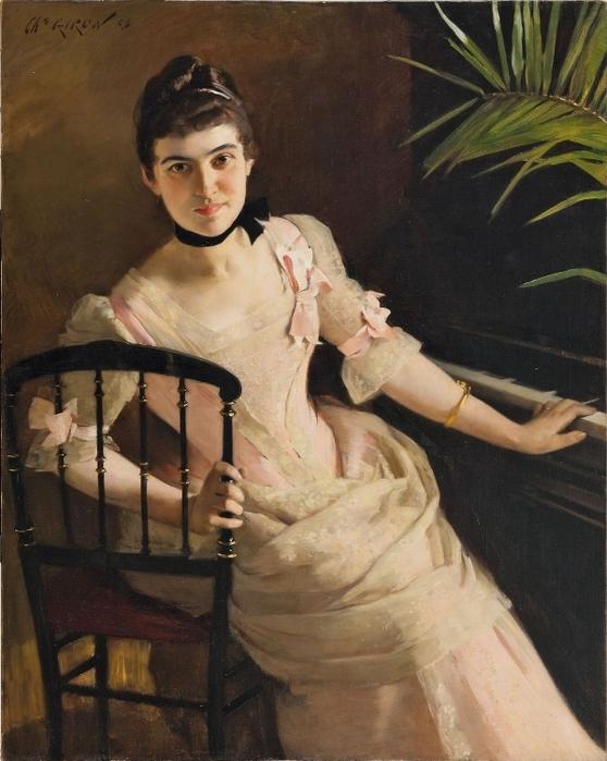 Чарльз Хирон. Молодая женщина за фортепиано. 1886