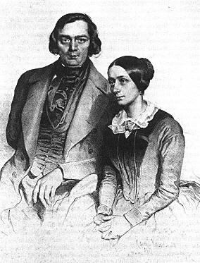Эдуард Кайзер. Роберт и Клара Шуман. Литография. 1847