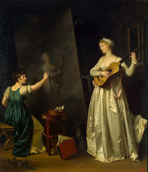 Маргарита Жерар. Художница, пишущая портрет музыкантом (Автопортрет с моделью)