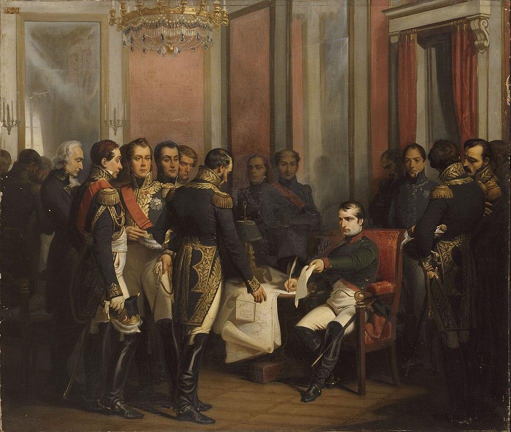 Франсуа Бушо. Наполеон подписывает отречение в Фонтенбло в 1814 году.