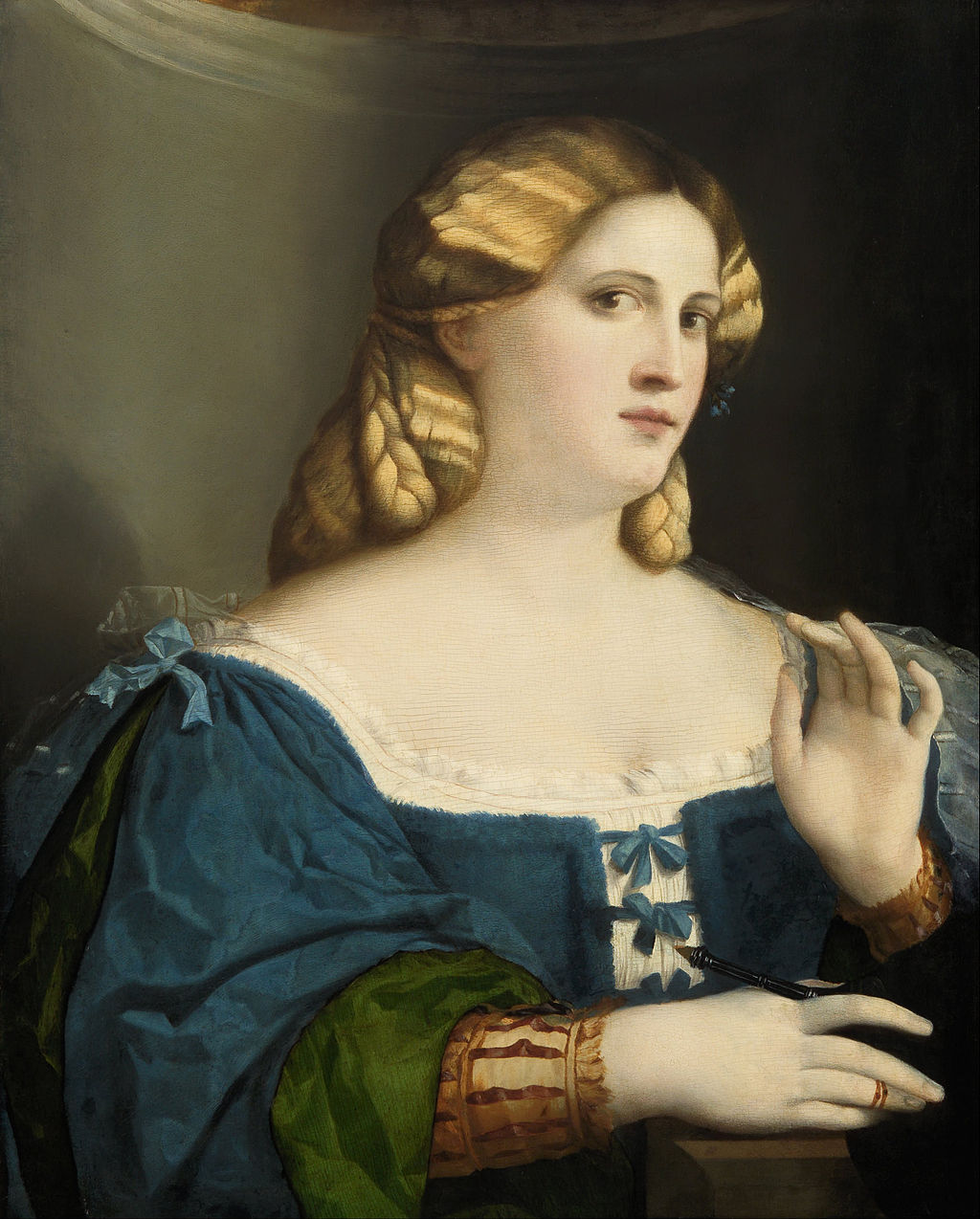 Якопо Пальма Старший. Портрет девушки в синем платье. Ок.1512-14