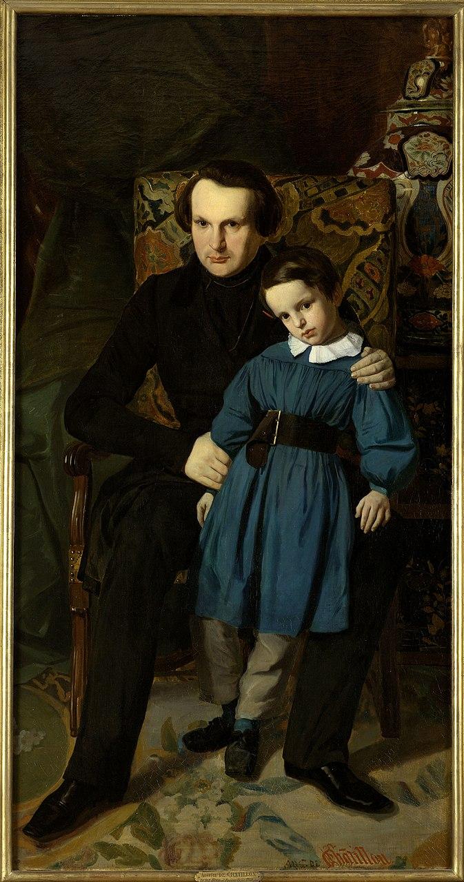 Огюст де Шатийон. Портрет писателя Виктора Гюго с сыном Виктором-Франсуа. 1836