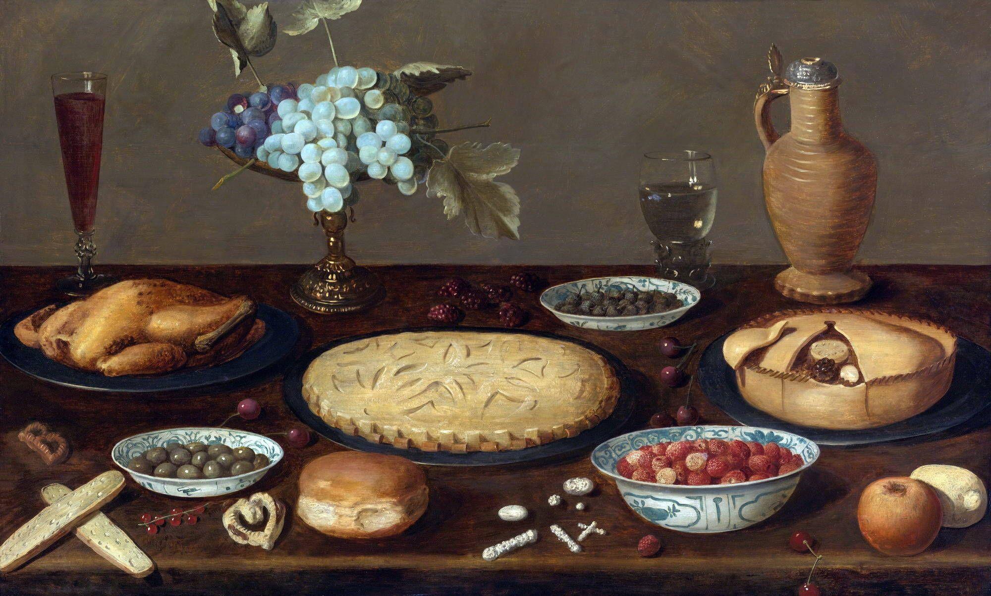 Якоб  ван Эс. Натюрморт с мясным пирогом и ягодами. Ок.1600