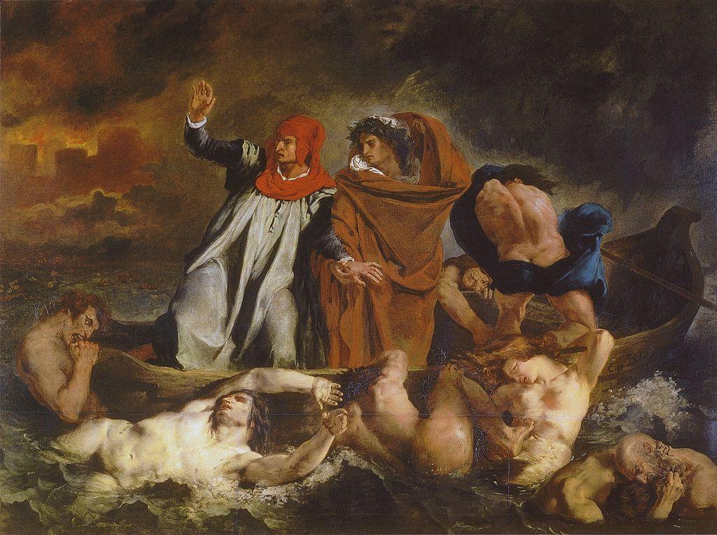 Эжен Делакруа. Ладья Данте (Данте и Вергилий в аду). 1822