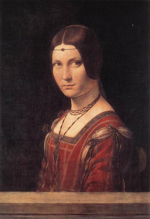 Леонардо да Винчи. Прекрасная Ферроньера (Портрет Лукреции Кривелли). 1490/96 или 1495/97
