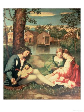 Джорджоне. Юноша с гитарой и две девушки на берегу реки