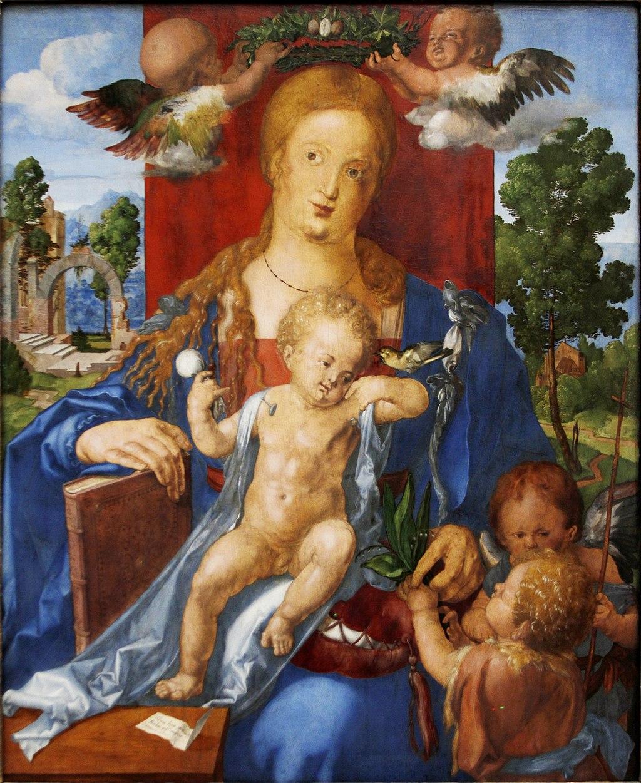 Альбрехт Дюрер. Мадонна с чижиком. 1506