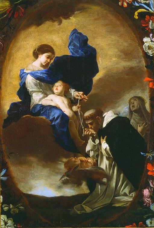 Бернардо Каваллино. Видение Св. Доминика, получающего Розарий от Богоматери.
