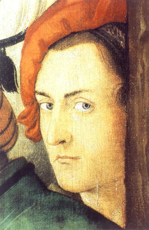 """Ганс Бальдунг Грин. Автопортрет. (вписан в панель """"Распятие"""" Фрайбургского алтаря). 1516"""