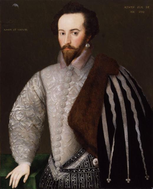 """Монограммист """"H"""". Портрет Уолтера Рэли. Ок.1588"""