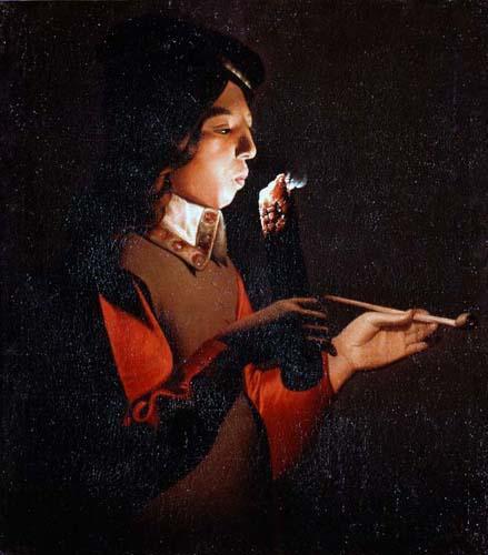 Жорж де ля Тур. Мальчик, раскуривающий трубку. Ок.1646