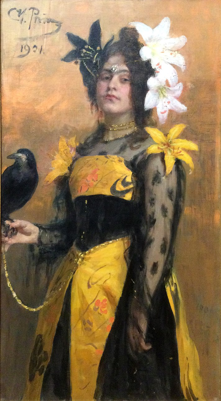 """Илья Репин. Портрет Лидии Кузнецовой (""""С вороном на плече""""). 1901"""