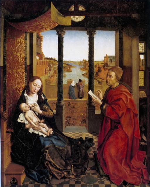 Рогир ван дер Вейден. Св.Лука, пишущий портрет Богоматери с Младенцем. Ок.1440 (предполагаемый автопортрет в образе св.Луки)
