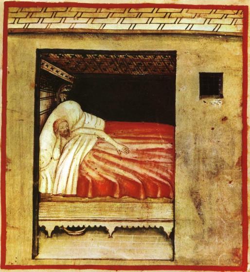 Неизвестный итальянский художник 14 века. Человек, страдающий бессонницей