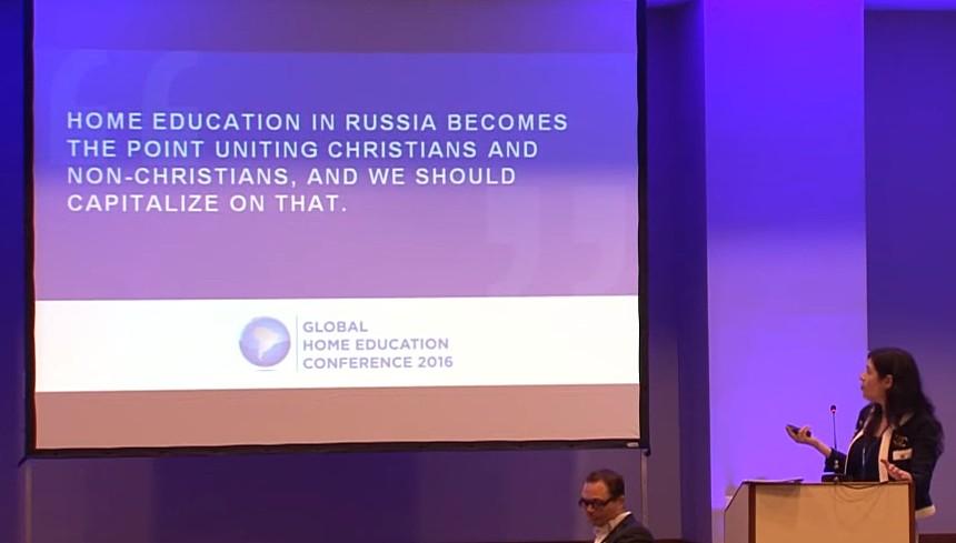 """Слайд из доклада Ирины Шамолиной на МКСО-2016: """"Домашнее образование в России становится точкой, объединяющей христиан и нехристиан, и мы будем извлекать из этого выгоду""""."""