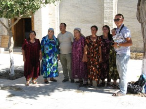 An Uzbek family visiting a shrine