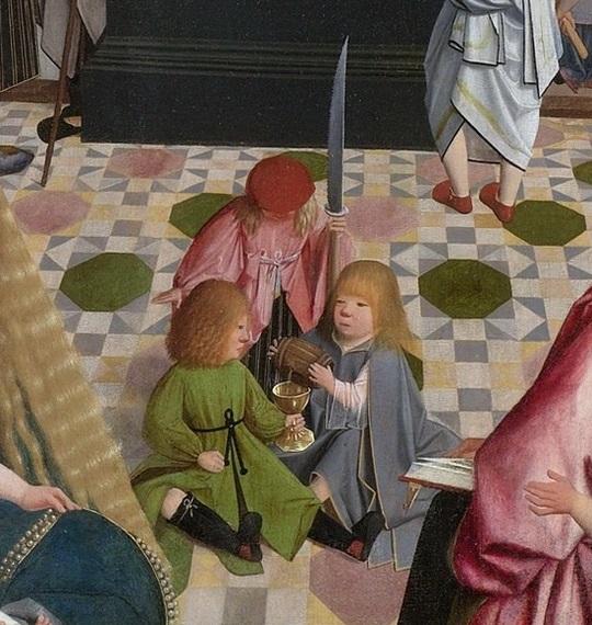 Geertgen tot Sint Jans -- De heilige maagschap, 1495 Деталь 1.jpg