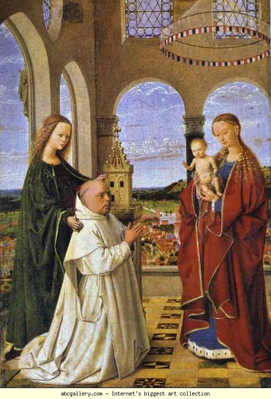 Petrus Christus.Madonna and Child with St. Barbara and a Carthusian Monk (Exeter Madonna). c.1450.jpg