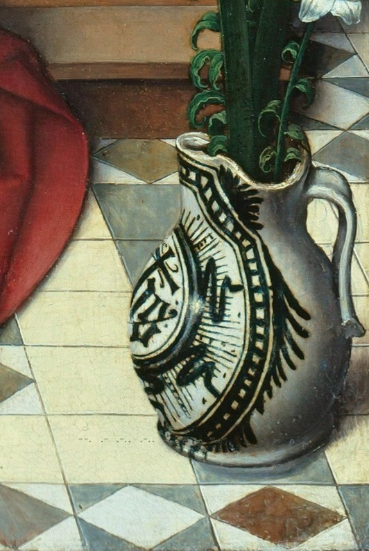 Ганс Мемлинг (1433-35 - 1494) - Мадонна с Младенцем на троне деталь 1..jpg