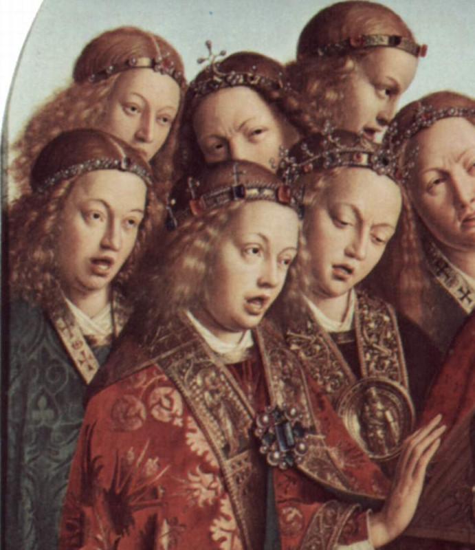 Эйк, Ян ван - Гентский алтарь Поющие ангелы деталь 1.jpg