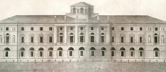 Главный фасад углового здания Библиотеки. Утвержденный проект Е.Т.Соколова. 1796 г.
