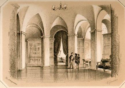 Приемная зала. По рисунку П.Ф.Бореля. 1852
