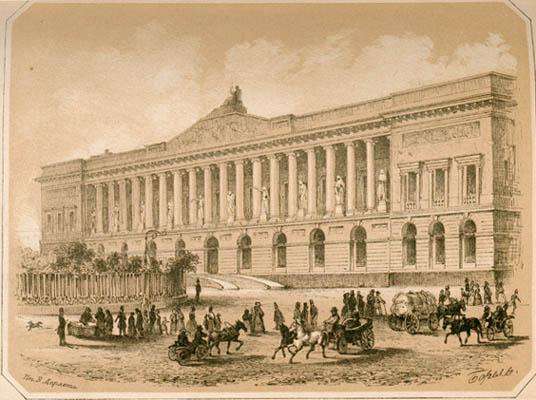Корпус К. И. Росси. По рисунку П.Ф.Бореля. 1852