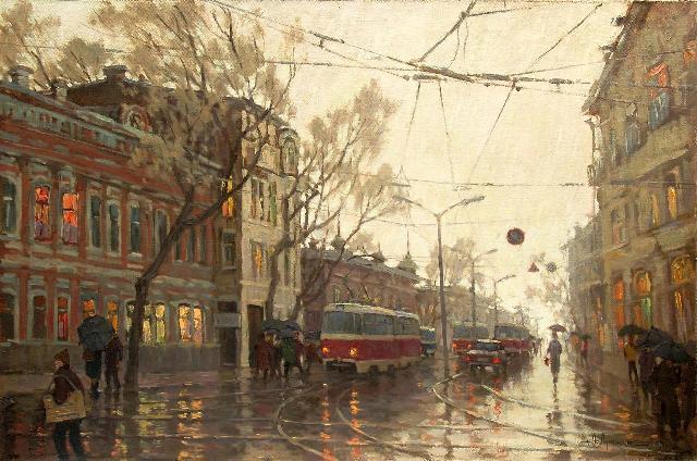 город под дождём