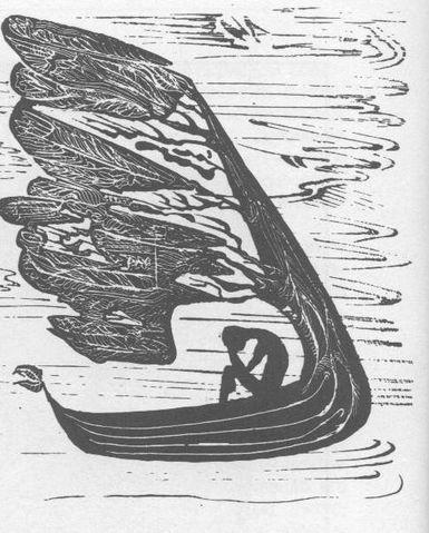 Гравюра.Склонённая фигура